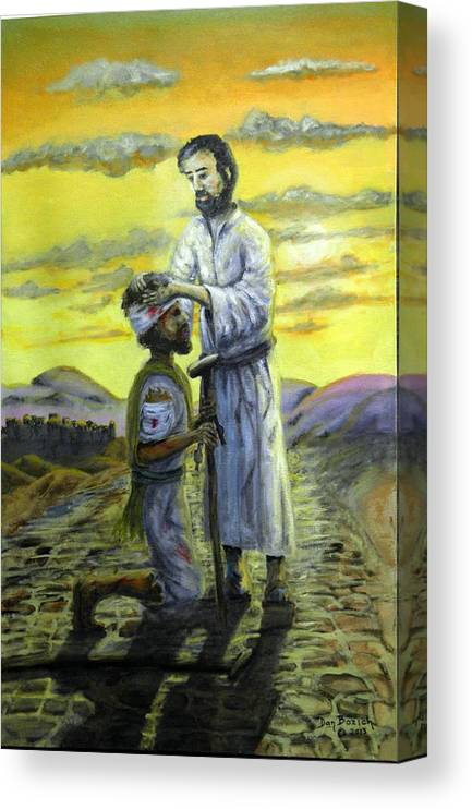 St. Luke Canvas Print featuring the painting Healing Hands by Dan Bozich