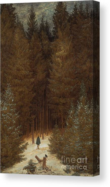 Caspar David Friedrich Canvas Print featuring the painting Hunter In The Forest by Caspar David Friedrich