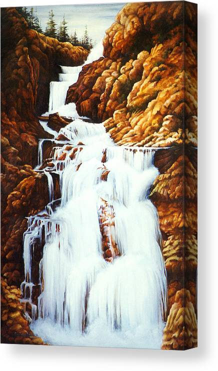 Waterfall Canvas Print featuring the painting Little Firehole Falls by Teri Rosario