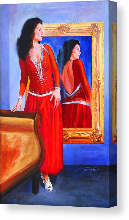 Red Dress Canvas Print featuring the painting Red Dress by John Tartaglione
