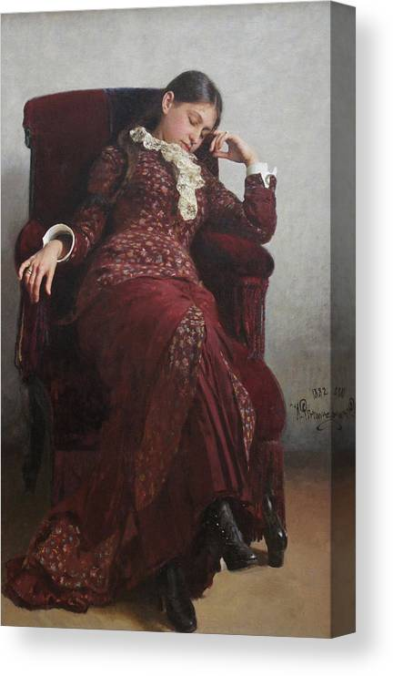 Ilya Repin Canvas Print featuring the painting Rest. Portrait of Vera Repina, the Artist's Wife. by Ilya Repin