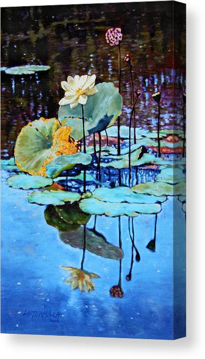 Lotus Flower Canvas Print featuring the painting Summer Calm by John Lautermilch