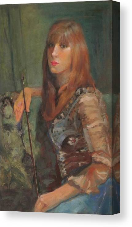 Girl Canvas Print featuring the painting Girl With Bow by Irena Jablonski