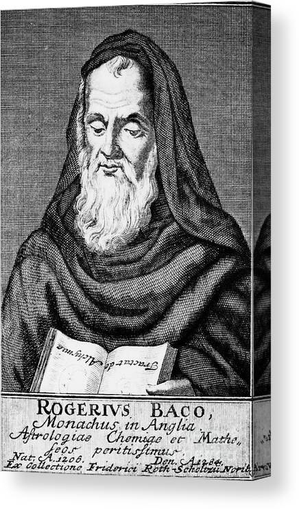 Engraving Canvas Print featuring the drawing Roger Bacon, Philosopher And Scientist by Print Collector