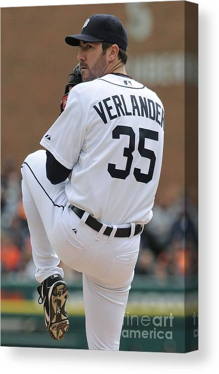 American League Baseball Canvas Print featuring the photograph Justin Verlander by Mark Cunningham