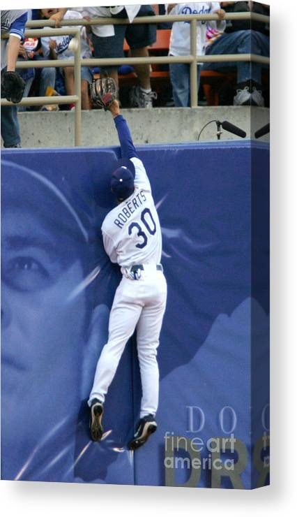 California Canvas Print featuring the photograph Hideo Nomo, Dave Roberts, and Barry Bonds by Jon Soohoo