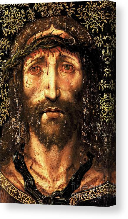 Ecce Homo Canvas Print featuring the painting The face of Christ or the suffering Christ by Joan Gasco
