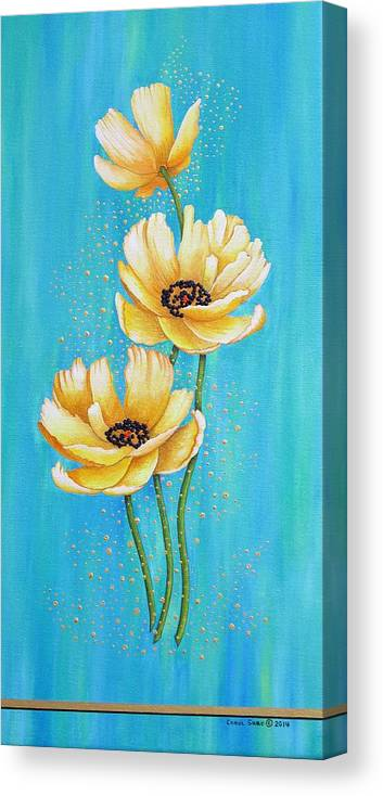 Poppies Canvas Print featuring the painting Three Yellow Poppies with Pixie Dust by Carol Sabo