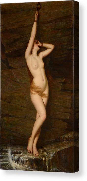 Vlaho Canvas Print featuring the painting Andromeda by Vlaho Bukovac