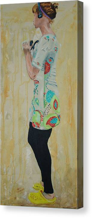 Portrait Canvas Print featuring the painting Girl in the Yellow Shoes by Kevin Callahan