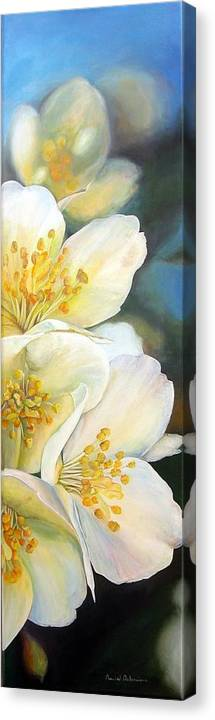 Floral Painting Canvas Print featuring the painting Eglantine by Muriel Dolemieux