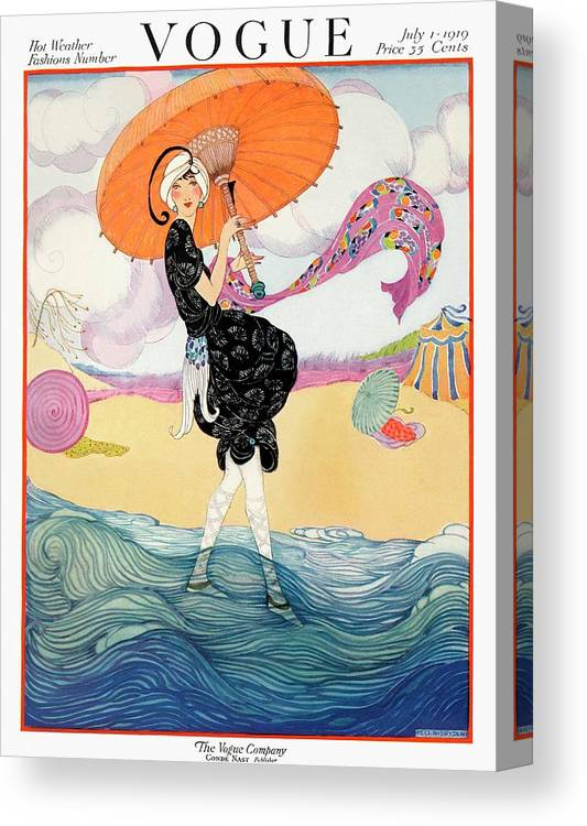Illustration Canvas Print featuring the painting A Vogue Cover Of A Woman On A Beach by Helen Dryden