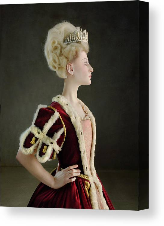 People Canvas Print featuring the photograph 18th Century Queen Wearing Red Robe by Zena Holloway