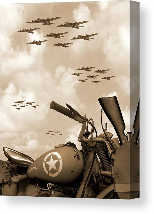 Warbirds Canvas Print featuring the photograph 1942 Indian 841 - B-17 Flying Fortress' by Mike McGlothlen