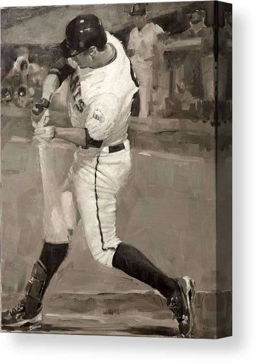 Brandon Belt Canvas Print featuring the painting Belted Over First by Darren Kerr