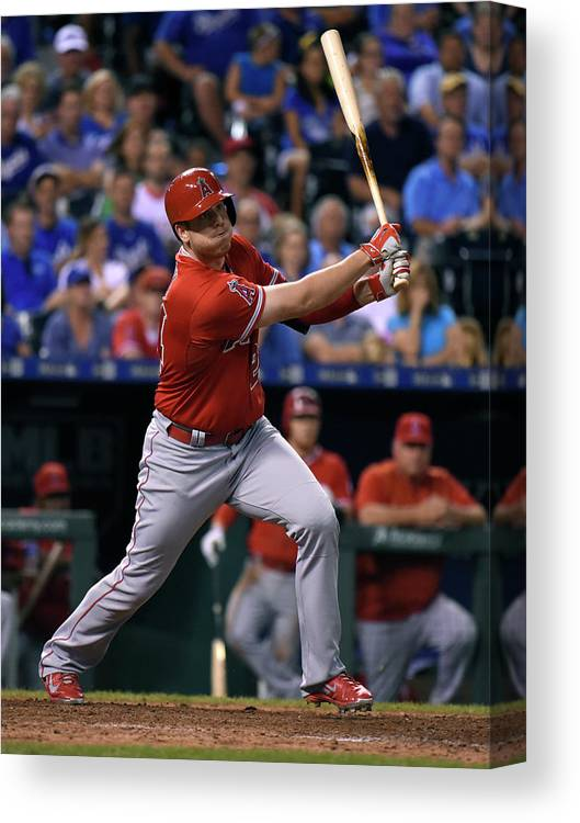 Ninth Inning Canvas Print featuring the photograph Los Angeles Angels Of Anaheim V Kansas by Ed Zurga