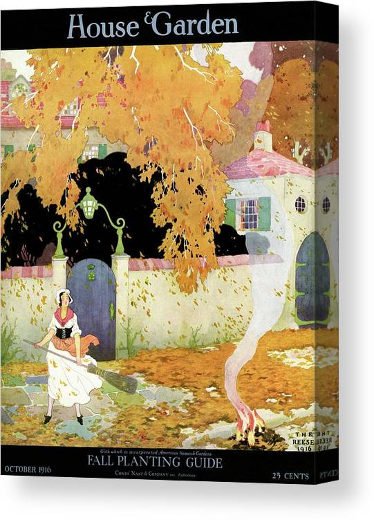 House And Garden Canvas Print featuring the photograph A Girl Sweeping Leaves by The Reeses