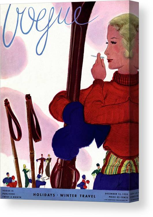Illustration Canvas Print featuring the photograph A Vogue Cover Of A Woman Holding Skis Smoking by Jean Pages