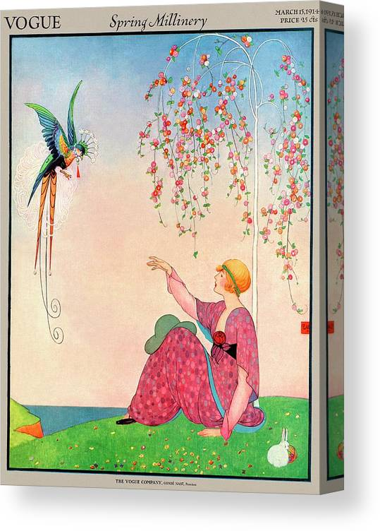 Illustration Canvas Print featuring the photograph A Vogue Cover Of A Woman With A Bird by George Wolfe Plank