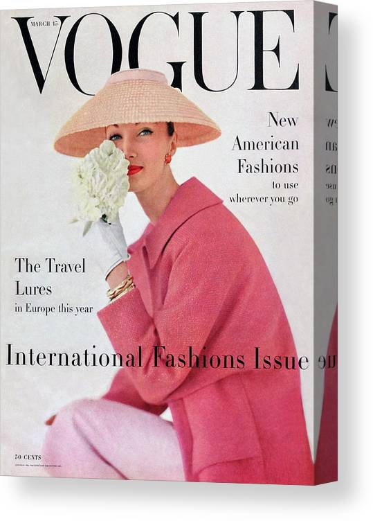 Fashion Canvas Print featuring the photograph A Vogue Cover Of Evelyn Tripp Wearing Pink by Karen Radkai
