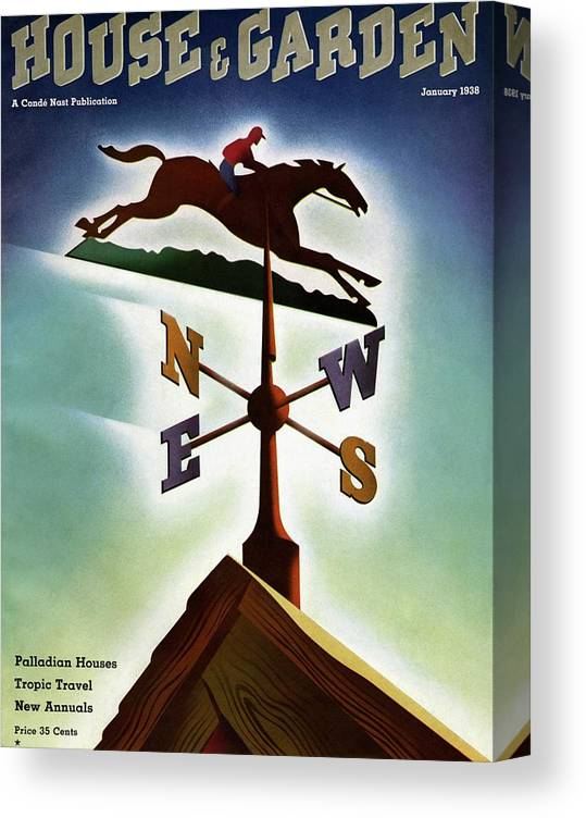 House And Garden Canvas Print featuring the photograph A Weathervane With A Racehorse by Joseph Binder