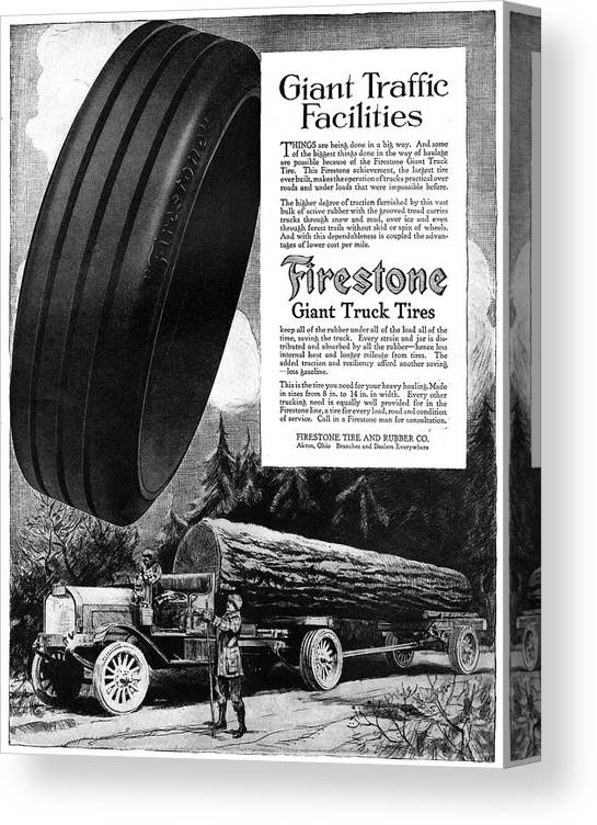 1918 Canvas Print featuring the painting Ad Firestone, 1918 by Granger