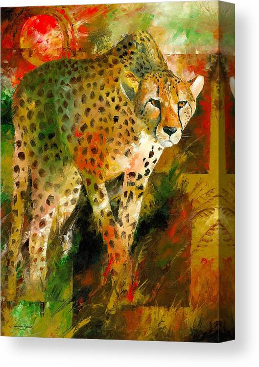 African Canvas Print featuring the painting African Cheetah by Christiaan Bekker