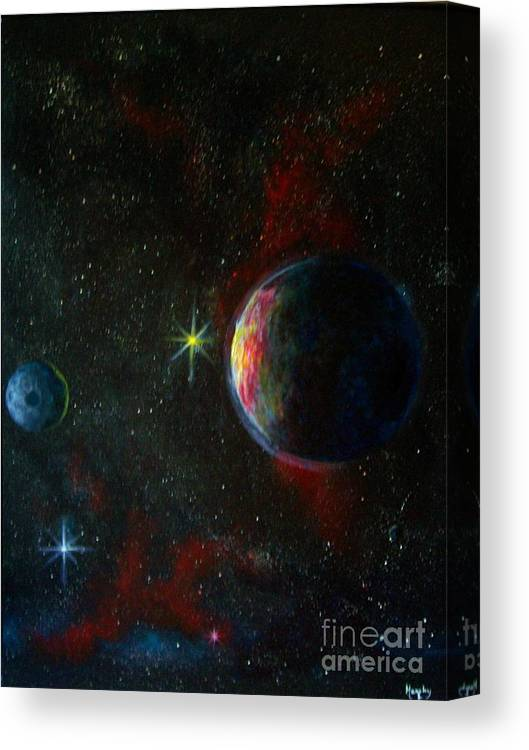 Cosmos Canvas Print featuring the painting Alien Worlds by Murphy Elliott