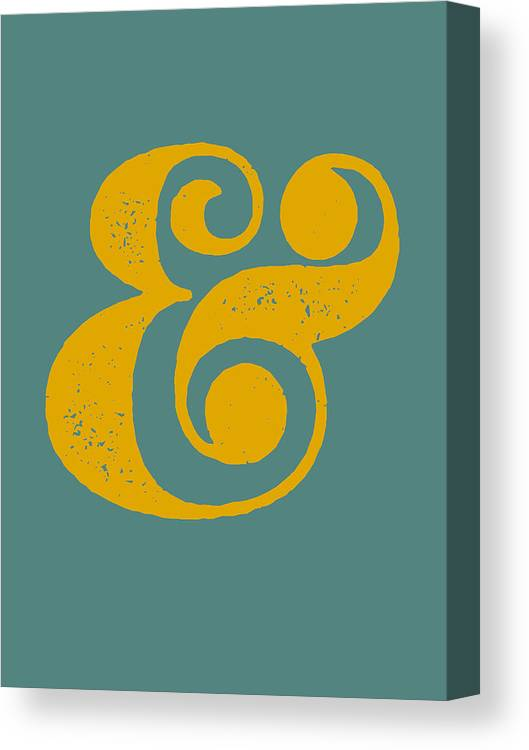 Ampersand Canvas Print featuring the digital art Ampersand Poster Blue and Yellow by Naxart Studio