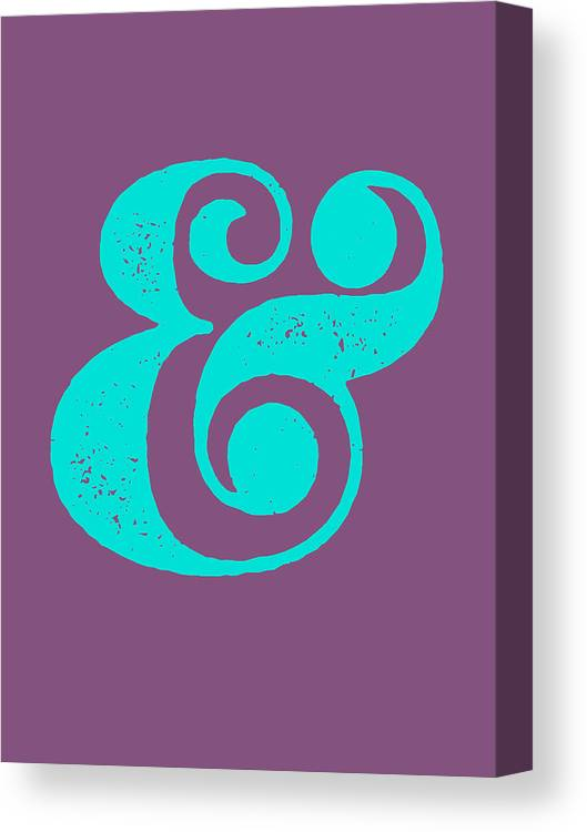 Ampersand Canvas Print featuring the digital art Ampersand Poster Purple and Blue by Naxart Studio