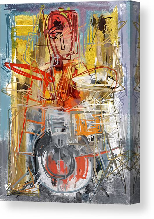 Drummer Canvas Print featuring the mixed media Beat Banging by Russell Pierce