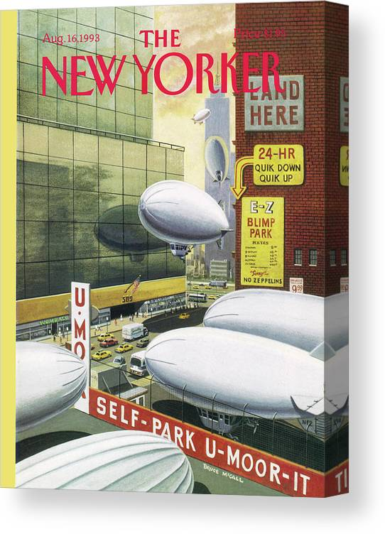 Blimps Canvas Print featuring the painting Blimp Park by Bruce McCall