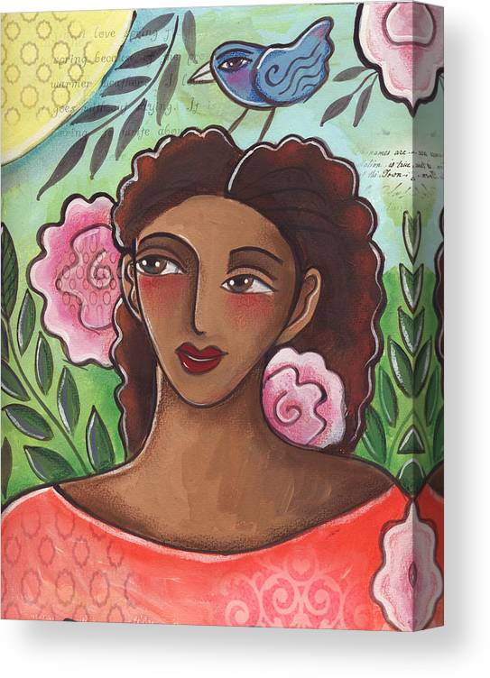 Woman Canvas Print featuring the painting Blue Bird Of Happiness On My Head by Elaine Jackson