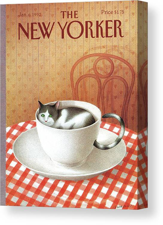 Cat Canvas Print featuring the painting New Yorker January 6, 1992 by Gurbuz Dogan Eksioglu