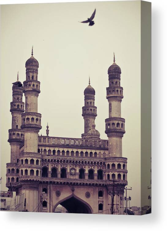 Tranquility Canvas Print featuring the photograph Charminar And The Pigeon by © Manogna Reddy