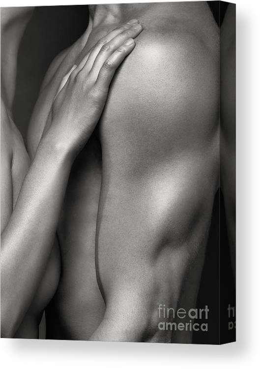 Sex Canvas Print featuring the photograph Closeup of Naked Woman and Man Body Parts by Maxim Images Prints