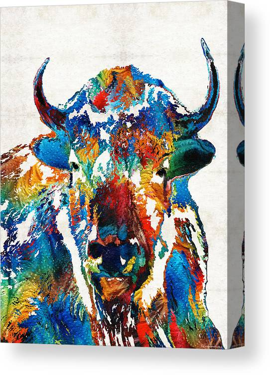 Buffalo Canvas Print featuring the painting Colorful Buffalo Art - Sacred - By Sharon Cummings by Sharon Cummings