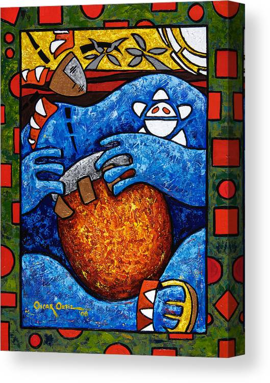 Puerto Rico Canvas Print featuring the painting Conga on Fire by Oscar Ortiz