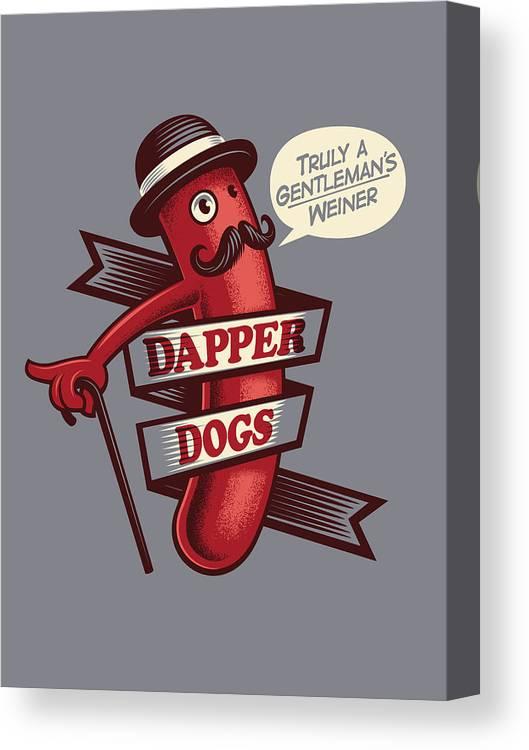 Walking Cane Canvas Print featuring the digital art Dapperdogs by Leonryan.com