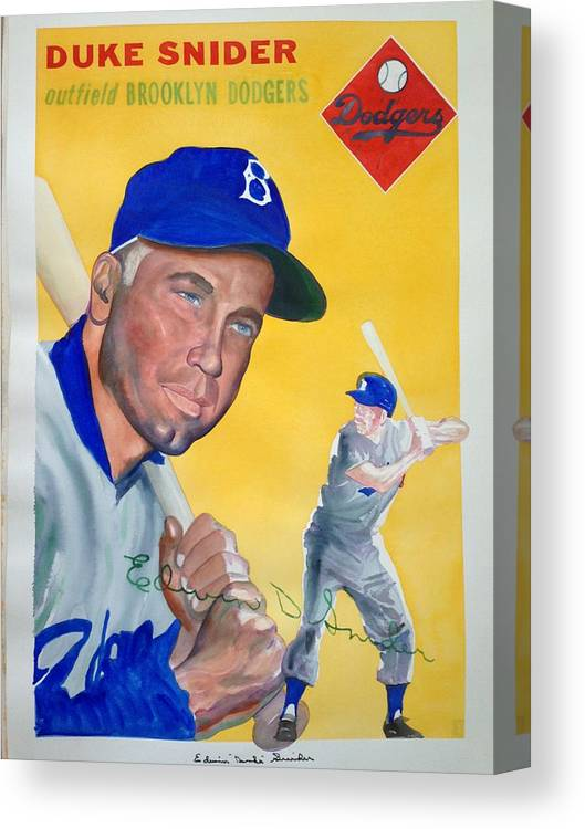 Brooklyn Canvas Print featuring the painting Duke Snider by Robert Myers