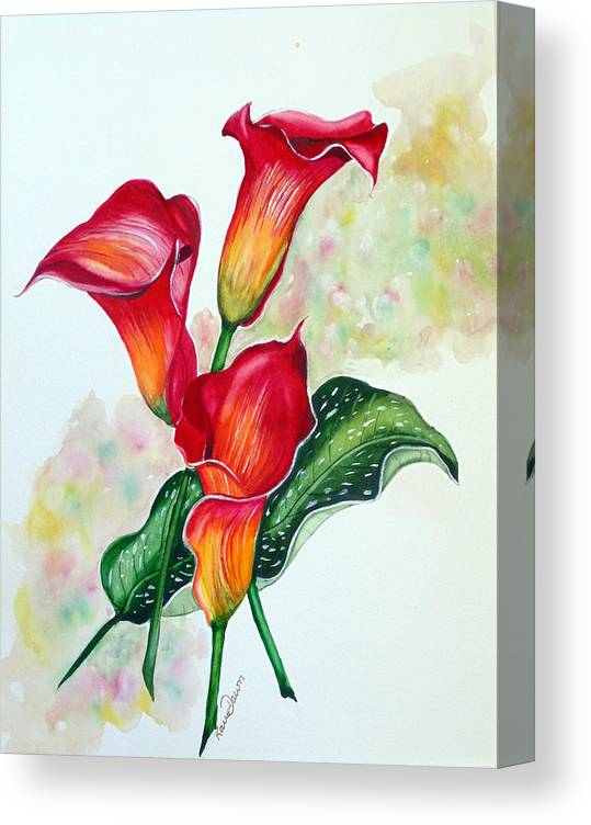 Floral Lily Paintings Flower Paintings Red Paintings Orange Paintings Calla Lily Paintings Tropical Paintings Caribbean Paintings  Greeting Card Paintings Canvas Paintings Poster Paintings Canvas Print featuring the painting Fiery Callas by Karin Dawn Kelshall- Best