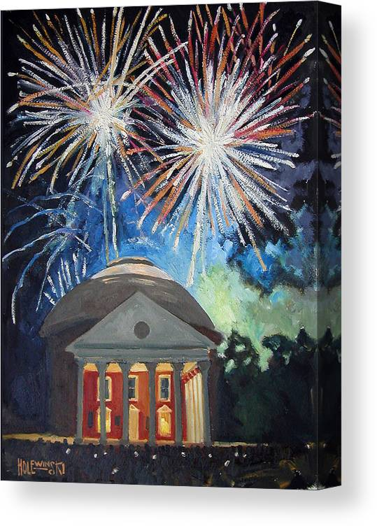 Rotunda. University. Virginia. Charlottesville. Fireworks. Canvas Print featuring the painting Fireworks Over The Rotunda by Robert Holewinski