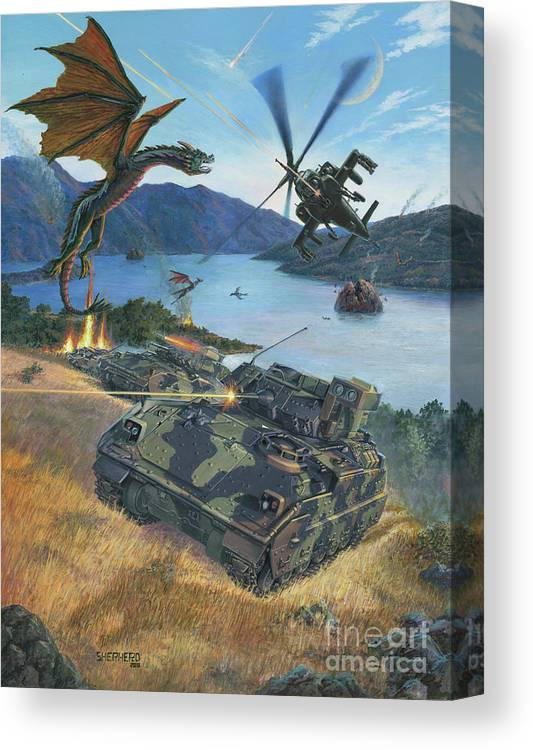 Dragon Canvas Print featuring the painting First Wave - Clash at Pyramid Lake by Stu Shepherd