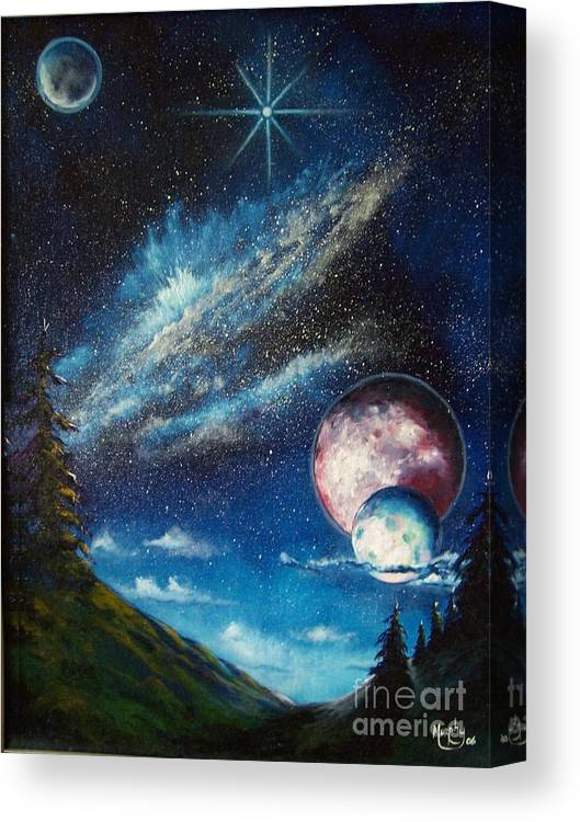 Space Horizon Canvas Print featuring the painting Galatic Horizon by Murphy Elliott