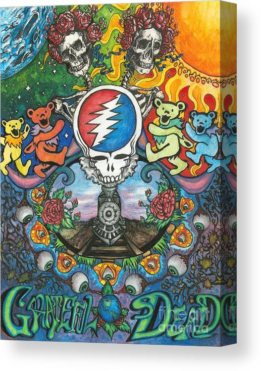 Rock Canvas Print featuring the drawing Grateful Dead Poster by Amanda Paul