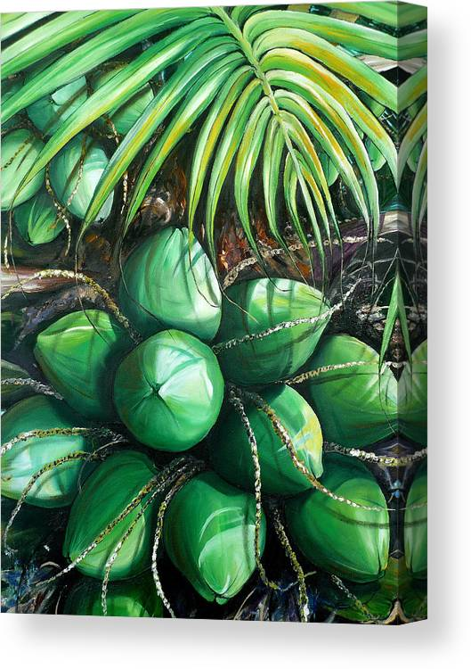 Tropical Painting Caribbean Painting Green Painting Palm Tree Painting Greeting Card Painting Botanical Painting Tree Painting Canvas Print featuring the painting Green Coconuts 3 Sold by Karin Dawn Kelshall- Best