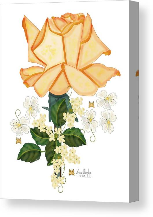 Anne Norskog Canvas Print featuring the painting Guardian Golden Rose by Anne Norskog