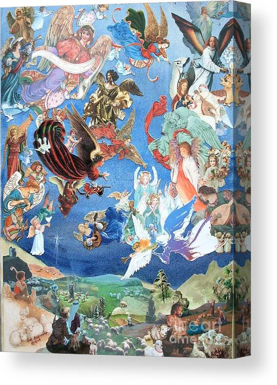 Landscape Canvas Print featuring the mixed media Heavenly Host - Two - SOLD by Judith Espinoza