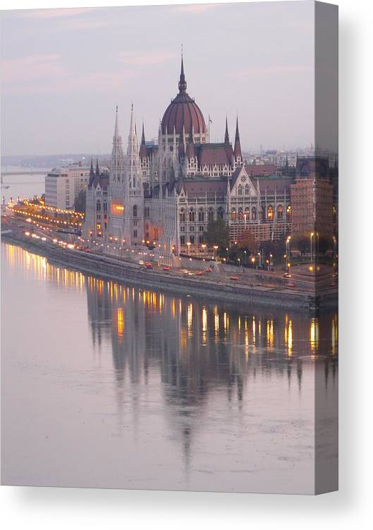 Outdoors Canvas Print featuring the photograph Hungarian Parliament At Sunrise by Ilona Nagy