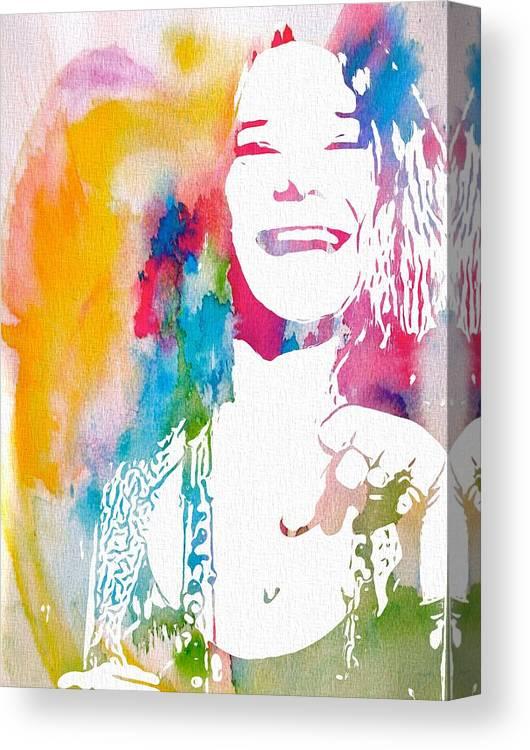 Janis Joplin Watercolor Canvas Print featuring the digital art Janis Joplin Watercolor by Dan Sproul